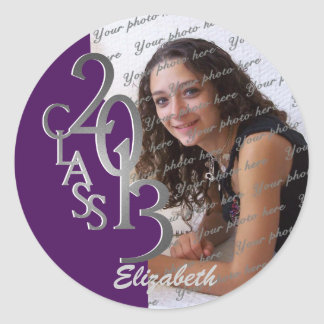 Class of 2013 Purple Silver personalised photo Round Sticker