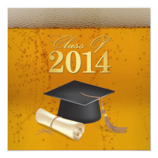 """Class of 2014 Beer Themed Graduation 5.25"""" Square Invitation Card"""