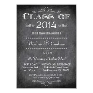 "Class of 2014 chalkboard graduation party invite 5"" x 7"" invitation card"