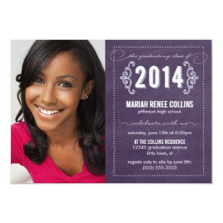 """Class of 2014 Chalkboard Graduation Photo Invite 5"""" X 7"""" Invitation Card"""