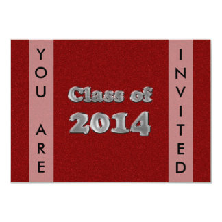 Class of 2014 Custom Red Silver Graduation Party Card