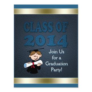 Class of 2014 Custom Teal Gold Graduation Party Card
