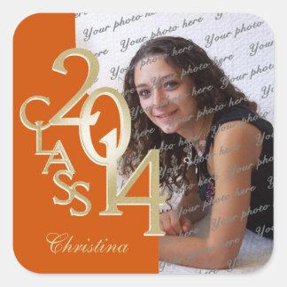 Class of 2014 Gold and Orange Graduation Square Sticker