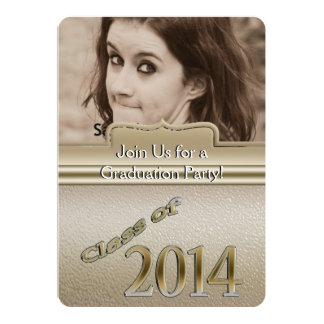 Class of 2014 Gold Personalized Graduation Photo Card