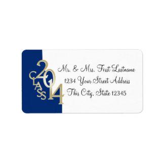 Class of 2014 Graduation Blue Gold Address Label