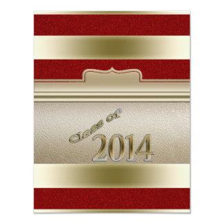 Class of 2014 Graduation Gold Red Glitter Custom 11 Cm X 14 Cm Invitation Card