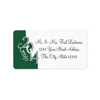 Class of 2014 Graduation Green Silver Address Label