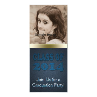 Class of 2014 Graduation Party Teal Photo 4x9.25 Paper Invitation Card