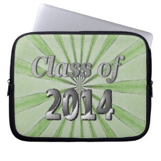 Class of 2014 Green and Silver Laptop Sleeve