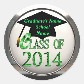 Class Of 2014 Green Graduation Stickers