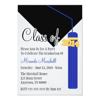 "Class Of 2014 Tassel Graduation Invite (Blue) 5"" X 7"" Invitation Card"