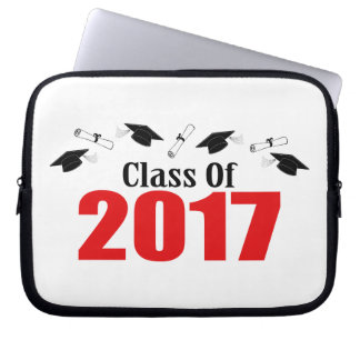 Class Of 2017 Caps And Diplomas (Red) Laptop Sleeves
