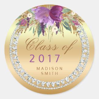 Class of 2017 Flowers Diamonds Gold Graduation