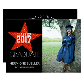 Class of 2017 Red Star | Photo Graduation Party Card