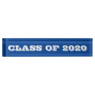 Class of 2020 White Font Blue Paperweight by Janz Name Plates