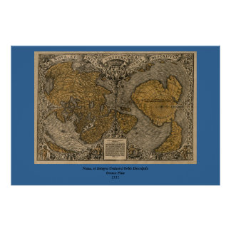Classic 1531 Antique World Map by Oronce Fine Poster