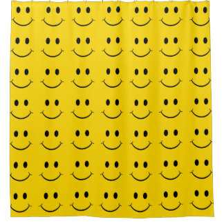 Classic 70's Yellow Smiley Happy Face Shower Curtain
