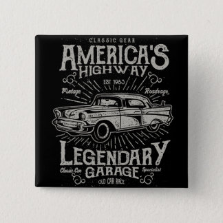 Classic American Muscle Car | Hotrod's Highway 15 Cm Square Badge