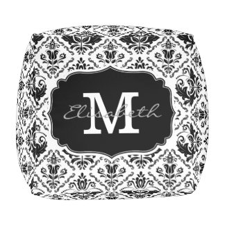 Classic and Chic Black White Damask Monogram Name Cube Pouffe