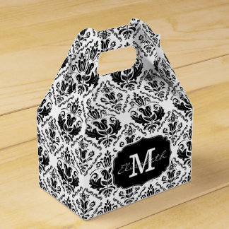 Classic and Chic Black White Damask Monogram Name Wedding Favour Boxes