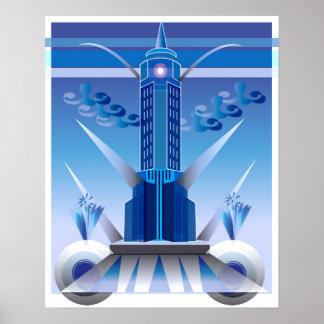Classic Art Deco City Building Poster