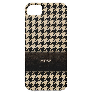 Classic Black and Tan Houndstooth Custom Monogram Case For The iPhone 5