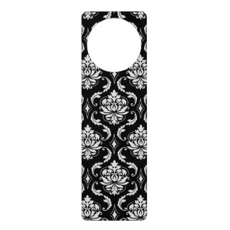 Classic Black and White Floral Damask Pattern Door Hanger
