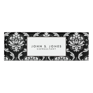 Black and white floral name tags badges zazzle classic black and white floral damask pattern name tag mightylinksfo
