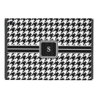 Classic Black and White Houndstooth Monogram iPad Mini Cover