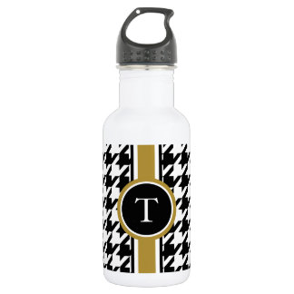 Classic black and white houndstooth with monogram 532 ml water bottle