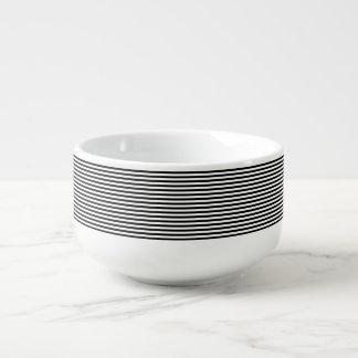 Classic Black and White Stripes Soup Mug