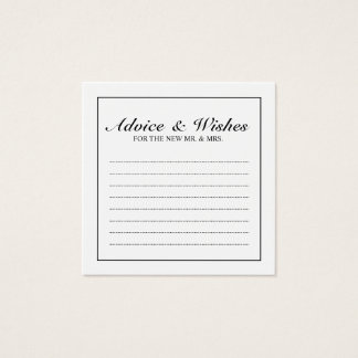 Classic Black and White Wedding Advice and Wishes Square Business Card