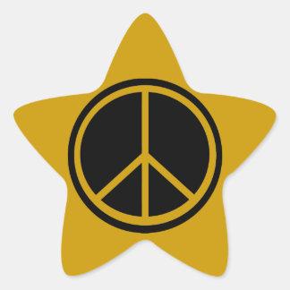 Classic Black Peace Sign Star Sticker