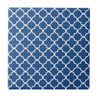 Classic Blue and White Quatrefoil Moroccan Pattern Small Square Tile