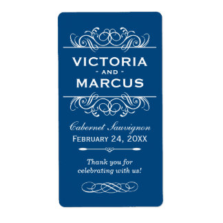 Classic Blue Wedding Wine Bottle Monogram Favor Shipping Label