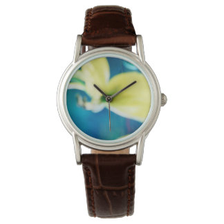 CLASSIC BROWN LEATHER WATCH - YELLOW ORCHID