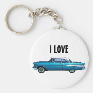 Classic car 1957 Chevy BelAire custom keychain