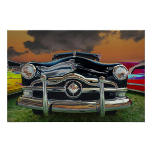 Car posters photo prints zazzle nz classic car at sunset poster junglespirit