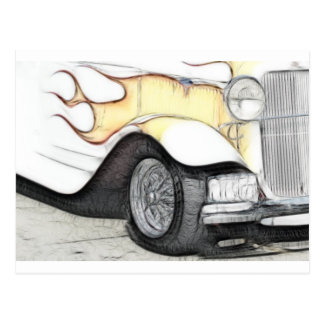 Classic Car with Flames Postcard