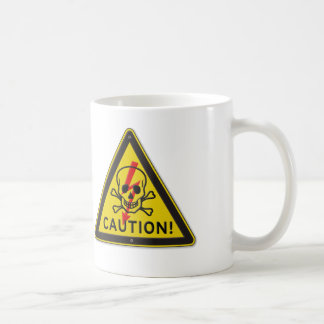 Classic Caution! Warning Sign With Skull and Bolt Coffee Mugs