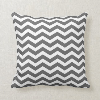 Classic Chevron Charcoal Grey and White Cushion