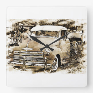 Classic Chevy Chevrolet pickup truck. Square Wall Clock