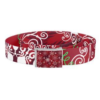 Classic Christmas Holiday Snowflake Pattern Belt
