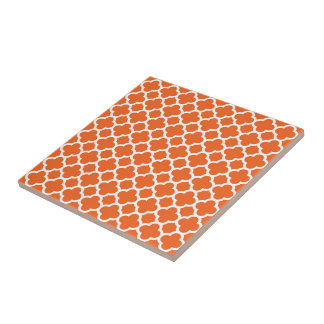 Classic Clover Quatrefoil Pattern in Orange Small Square Tile