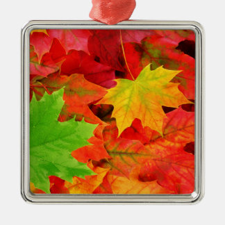 Classic Colored Autumn Fall Leaf Print Christmas Ornament