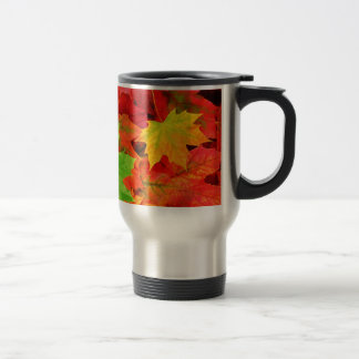 Classic Colored Autumn Fall Leaf Print Stainless Steel Travel Mug
