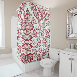 Classic Cranberry Damask Shower Curtain