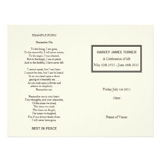 Classic Cream Order of Service Funeral Program 21.5 Cm X 28 Cm Flyer