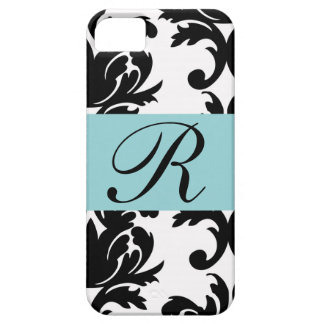Classic Damask Pattern with Monogram iPhone 5 Cover