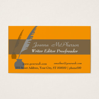 Classic Feather Pen and Ink Business Card